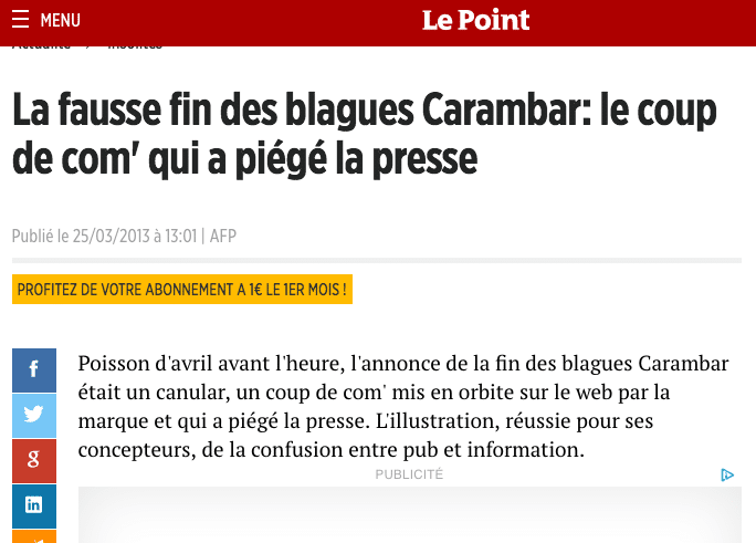 info du Point sur le poisson d avril Carambar en 2013