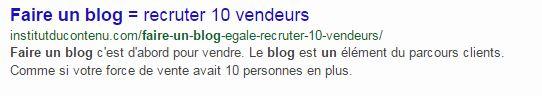 """Institut du contenu : meta description de la page pour faire un blog """"Un blog egale 10 vendeurs"""""""