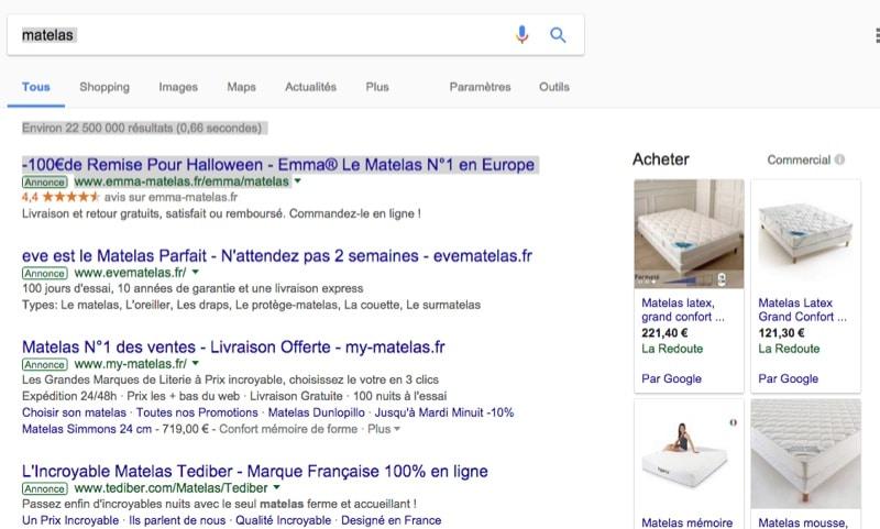 """Quand on tape sur Google le mot """"matelas"""""""